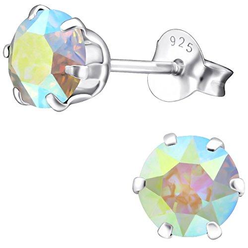EYS JEWELRY Damen Ohrstecker rund 925 Sterling Silber Swarovski Elements 6 mm AB-weiß Ohrringe im Geschenk-Etui Glitzer Kristalle (Ab Stein Ohrringe)