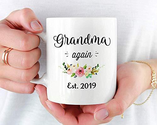 TK.DILIGARM Grandma Again Est 2019 Mug, Grandma Again Gifts, Second Baby Announcement Mug, Pregnancy Announcement Grandparents, Grandma Again 2019 Gift,11 oz