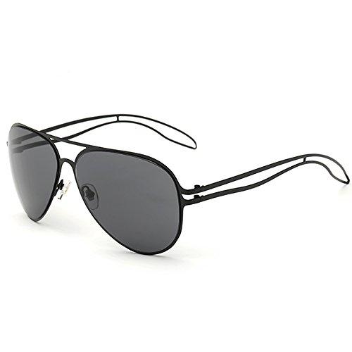 olarisierte verspiegelte Aviator Sonnenbrille mit übergroßen Anti-Glare Linse Doppelte Brücke Unzerbrechliche Rahmen Schwarz (Aviator Sonnenbrille Großhandel)