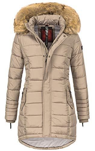 Navahoo Papaya Damen Winter Jacke Steppjacke Mantel Parka gesteppt warm B374 (XL, Taupe)