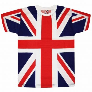 Union Jack Flag All Over Print T-Shirt for British Punk Dress-Up, Medium