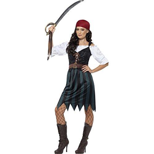 Amakando Piratinnenkostüm Piratenkostüm Damen XL 48/50 Piratin Kostüm Freibeuterin Damenkostüm Seeräuberin Faschingskostüm Piratenbraut Piraten-Outfit Frauen
