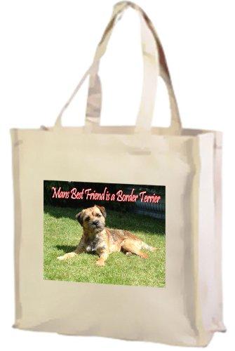 Border Terrier Hund Baumwolle Einkaufstasche, cremefarben -