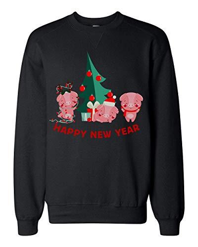 Finest Prints Happy New Year 2019 Three Cute Piglets New Pig Year Design Unisex Sweatshirt Small