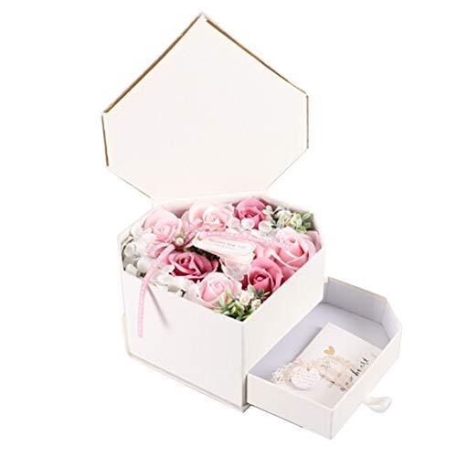Ssowun Badeseife Rosen Seife,Rosen Duftseifen Geschenk Box Handgefertigt Rose Blume Rosen Duftseifen in Geschenkbox Weihnachten Geburtstags Valentinstag EINWEG verpackung -