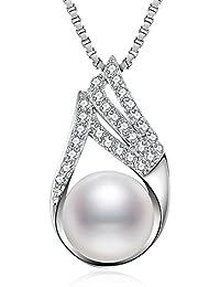 J.Vénus Kette Damen Kleine Perle Halskette 925 Sterling Silber Zirkonia Anhänger mit Etui Italien kette 45cm