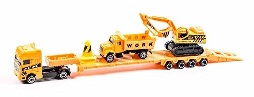 Auto Transporter Set Baustelle mit 2 Fahrzeugen, Maßstab 1:64, Länge ca. 32 cm, lieferbar in 2 Varianten (Gelb Set 1) 1 32 Maßstab Autos