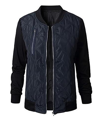 Yiqueen Femme Blouson Biker Jacket Zippé Jointif Casual Sport Manteau Automne Hiver