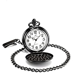 KS Vintage Polished Pendant Black Steel Case Chain Quartz Awesome Pocket Watch KSP001