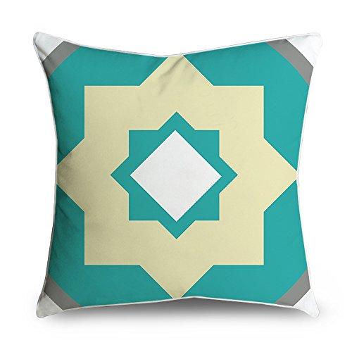 fabricmcc Modern grau weiß Geo Blaugrün quadratisch Accent dekorativer Überwurf-Kissenbezug 18x 18