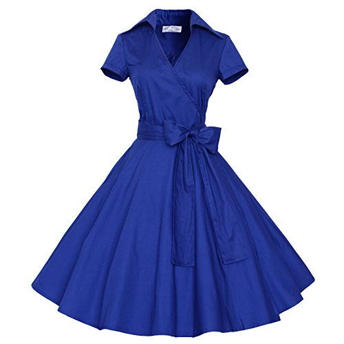 Maggie Tang 50s 60s Vintage manches courtes Robe trap¨¨ze Rockabilly Party Bleu royal