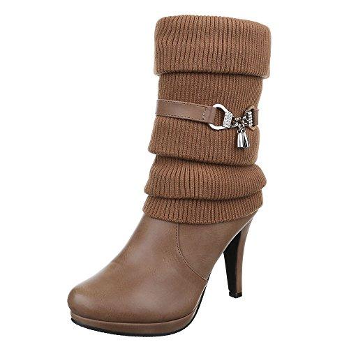 Ital-Design High Heel Stiefel Damen Schuhe Klassischer Stiefel Pfennig-/Stilettoabsatz High Heels Reißverschluss Stiefel Hellbraun