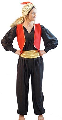 CRAZYLADIES COSTUMES Welt Buch Tag-Panto-Genie-Aladdin Genie of DIE Lampe Sultan Hut mit Feder Schwarz Kinder Maskenkostüm - Jedes Alter - Rot, Age ()