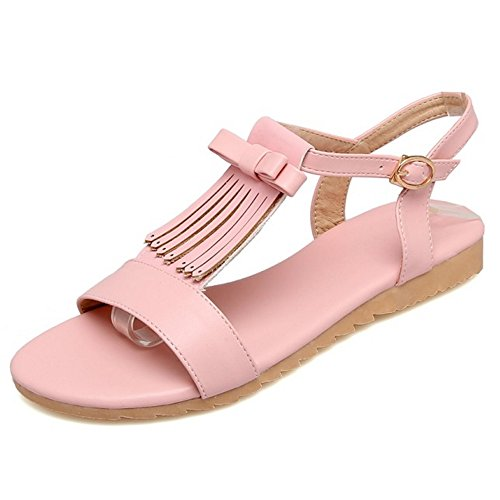 COOLCEPT Femme Mode Bride T Sandales Plat Bout Ouvert Slingback Chaussures Avec Bow Rose