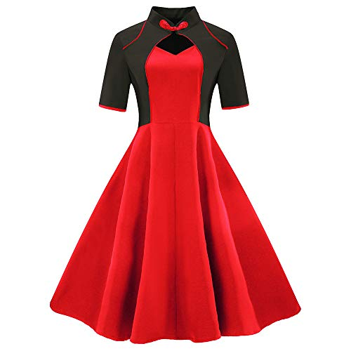 VEMOW Herbst Winter Elegante Damen Ballkleid Frauen Vintage Prinzessin Plaid Cocktailkleid Peter Pan Kragen Unregelmäßige Party Aline Swing Kleid(B-Rot, EU-48/CN-4XL) -