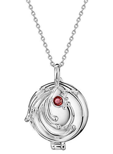Neoglory Jewellery 925 Silber Halskette Verbena The Vampire Diaries Elena Gilbert Medaillon Eisenkraut mit Zirkonia rot (Kostüm Schmuck Silber Halskette)