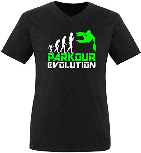 EZYshirt® Parkour Evolution Herren V-Neck T-Shirt Schwarz/Weiß/Neongr