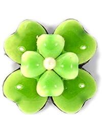 Broche fleur trèfle vert pomme petit en porcelaine et perles de verre , Bijou  fantaisie