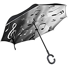 BENNIGIRY Paraguas invertido de Doble Capa con Diseño de Notas Musicales, Color Blanco y Negro