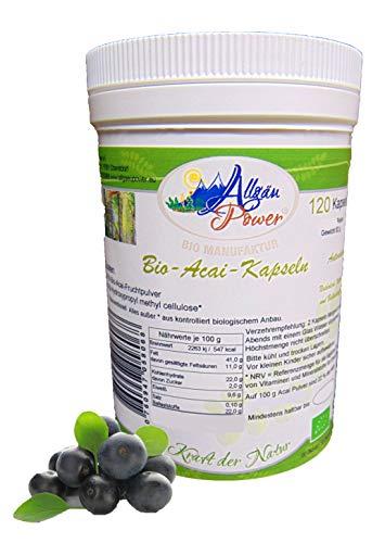 Acai Kapseln - BIO - 120 Stück - a 700 mg - 3% Polyphenole - die Anti-Aging Beere - Acai-früchte Kapseln