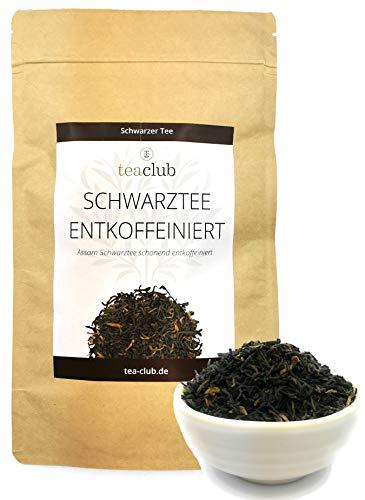 Schwarzer Tee Entkoffeiniert, Assam Tee Lose 100g, Schwartee Blätter TGFOP1 Kräftig Malzig, Tea-Club