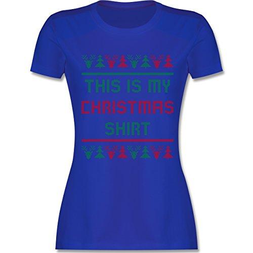 Weihnachten & Silvester - This is my Christmas Shirt - tailliertes Premium T-Shirt mit Rundhalsausschnitt für Damen Royalblau
