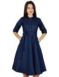 bccd72d41ca4 Bimba Womens Blue Denim Shirt Dress with Pockets 3 4 Sleeve Casual Midi  Dresses