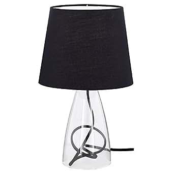 Wofi Tischleuchte Cara 1-flammig, Stoffschirm-schwarz, Ø ca. 20 cm, Höhe ca. 36 cm 800801100000