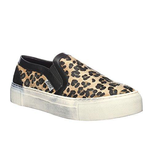 RIFLE Chaussures plates sans lacets pour femme. mod. 162-W-340-342 Leopard Beige - Noir