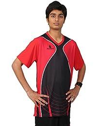Triumph Men's Polyester Football Red V Neck Uniform (XXXL)