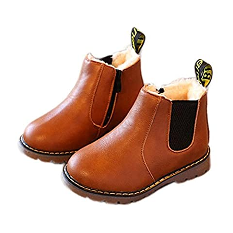 HKFV Winter Warm Kinder Baby Jungen Mädchen Martin Stiefel Leder Schuhe Stiefeletten Zipper Kinder Chelsea Schuhe Stiefel Britische Stiefel Stiefel (30, (Chelsea Girls Schuhe)