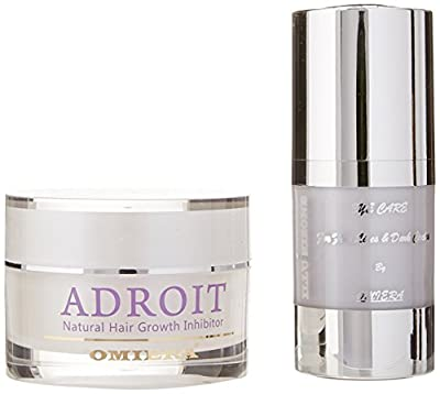 Omiera Illumizone Anti Ageing Eye Serum for Dark Circles & Adroit Facial Hair Inhibitor Cream for Treatment of Ingrown Hairs Set, 2 Pieces