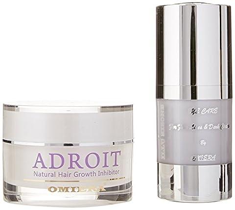 Omiera Labs Anti Aging Sous Eye Serum pour les cernes et Inhibiteur de Croissance de Cheveux Creme Ensemble de soins de la peau