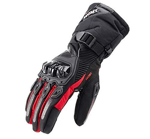 Guanti moto invernali 100% impermeabili termici, guanti scooter da sci snowboard protettivi touch screen - rosso m