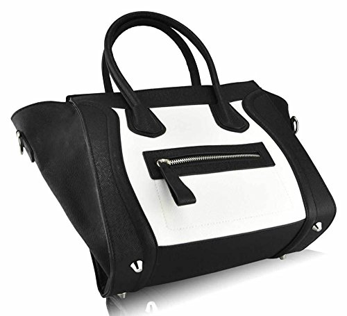 TrendStar - Sacchetto donna, bianco (Z-Black/White Smile Tote Bag), L Z-Black/White Smile Tote Bag