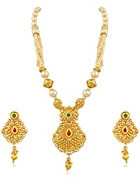 Trushi ARTISAN GOLD PLATED DESIGNER PENDENT SET WITH PEARLS AND GOLDEN BEADS BALL CHAN AND MULTI-COLOR STONES...