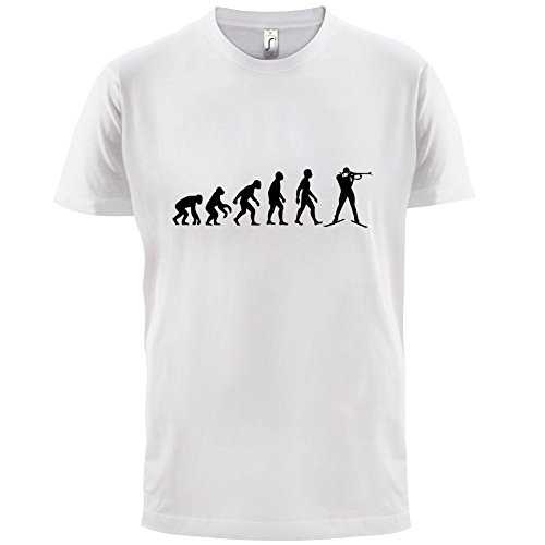 Evolution of Man - Biathlon - Herren T-Shirt - 13 Farben Weiß