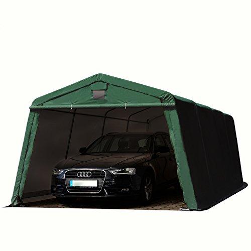 Preisvergleich Produktbild Zeltgarage 3, 66x6, 2 m Weidezelt PREMIUM Carport mit 500 g / m2 PVC Plane in dunkelgrün Unterstand Lagerzelt Garage aus 100% Stahl