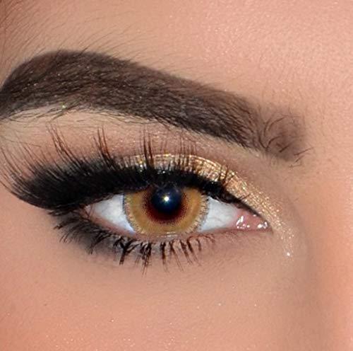 ELFENWALD farbige Kontaktlinsen, gelbbraun hellbraun HELLBRAUN/OCKER, natürlicher Look, maximaler Tragekomfort, ohne Stärke, 1 Paar weiche Farblinsen, inkl. Behälter und Anleitung, 3 - Monatslinsen,