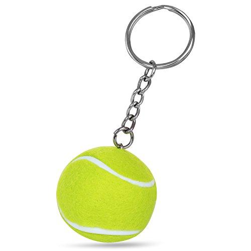 TRIXES Llavero con Cadena Motivo Mini Pelota de Tenis Verde Fluorescente