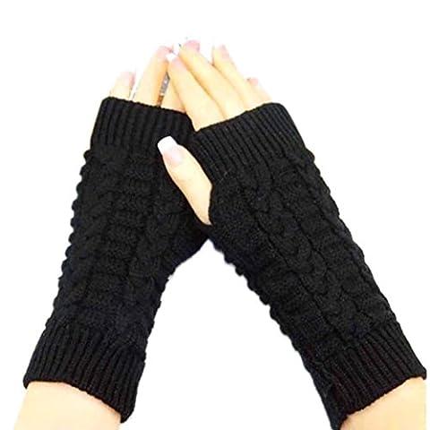 OverDose Gants en tricot d'hiver sans doigts Unisex Soft Warm Mitten (Noir)