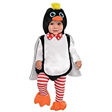 amscan 9902072 Baby Waddle Penguin Costume with detachable hoodie - Age 6-12 Months - 1 PC, White, Black