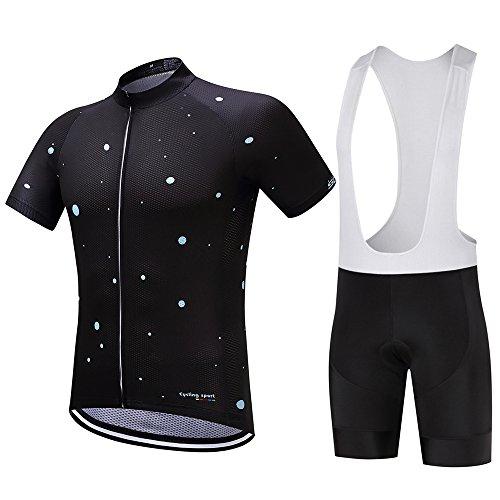 Logas Herren Radtrikot Bib Shorts Set Fahrrad-kurze Hülse Jersey Kleidung Bekleidung Anzug 3D Padded atmungsaktiv schnell trocknend