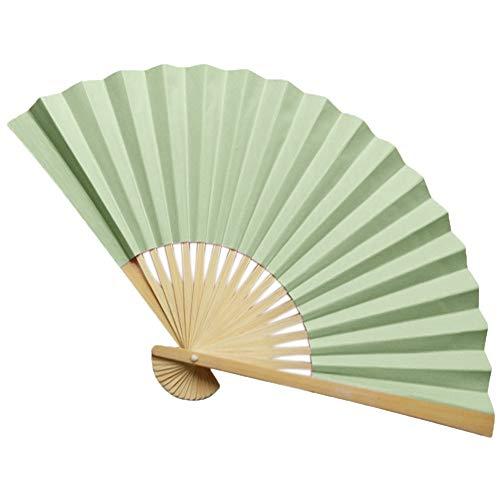 XIAOHAIZI Handfächer,Hellgrün Einfarbig Folding Hand Fan Herren Bambus Kalligraphie Malerei Schreiben Tanzen Chinese Held Fans Hochzeitsfeier (Herren Chinesen Kostüm)