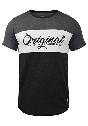 Blend Nero Herren T-Shirt Kurzarm Shirt Print Mit Streifen Und Rundhalsausschnitt, Größe:L, Farbe:Charcoal (70818) - Button-down Polo Shirt Gestreift