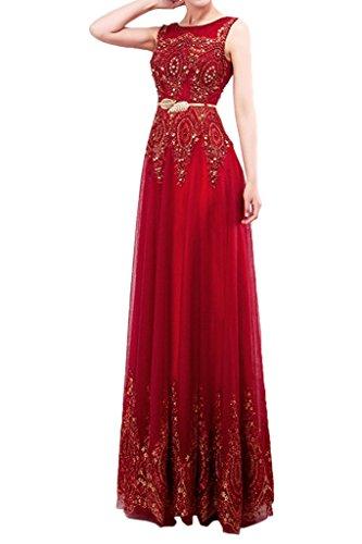 ivyd ressing Donna applicazione a girocollo A-Line di Tuell Party abito Prom abito da sera Rosso