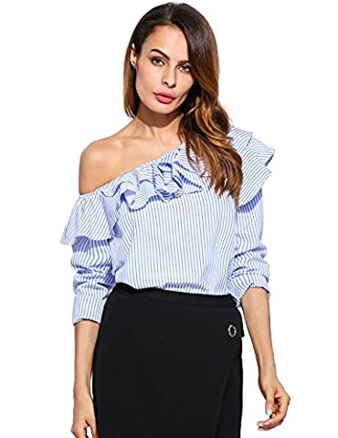 Lovino Women's Summer Striped Ruffles Blouse Shirts Off Shoulder Loose Tops (X-Large, Blue)