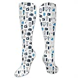 Juzijiang Personalized Compression Socks,Journalism Mass Media Communication Theme Icons Press TV News,Best Medical,for Running,Hiking,Varicose Veins,Circulation & Recovery