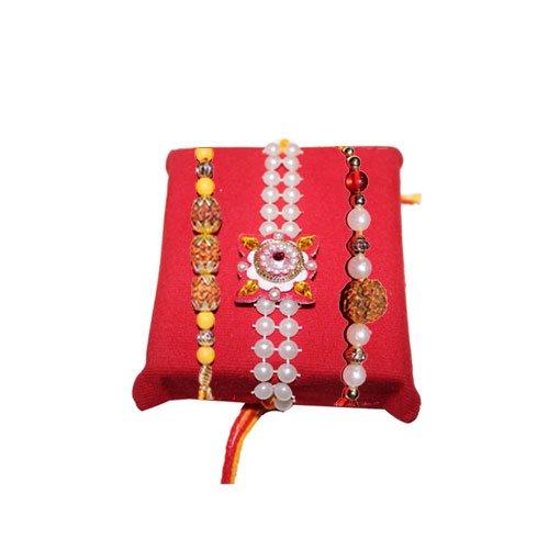 mandala-creations-rakhi-set-with-haldiram-soan-papdi-designer-rakhis-set-of-3