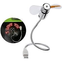 PIXNOR Flexible Mini USB LED destella ventilador programable palabras edición para PC Laptop Notebook escritorio